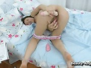 young and insatiable pussy of abbey demanded satisfaction so much that poor girl had to buy big realistic dildo and poke it as strong as she could in the beaver