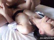 Asian schoolgirl chick with big naturals has a wild fuck