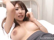Naughty Asian seductress gets her pussy toyed with a huge buzzing toy