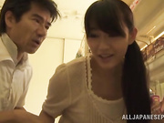 Asian horny couple strips and fondle themselves in the store