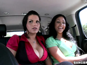 2 delicious busty gals in my car. No chance to escape