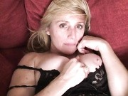 Raunchy milf strips of her lingerie and rubs her wet pussy