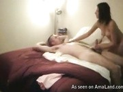 She sucks her man hard and sits on his cock for a wild ride