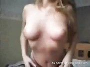 Dutch blonde shows her shaved pussy besides black hot panty