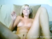 Appealing blonde honey drills her cunt to intense orgasms