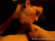 Amateur blowjob from a talented wife that tastes his sticky cumshot