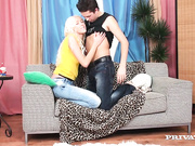 Teena Dolly is a cute blonde who is making out with her date on the love seat