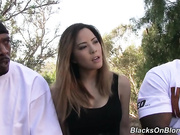 Asian girl goes home with two black guys to get laid