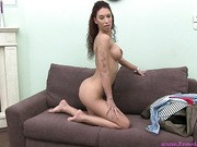 Hot dancer with big silicon boobs and well used pussy
