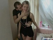 her boyfriend can't wait anymore, he wants to lick her nasty pussy and then to stuff his huge prick to her little asshole