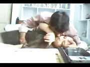 Horny couple made out on the office desk got caught on camera