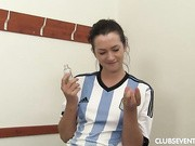 She plays for the Argentine womens team and we see what's under that uniform.