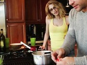 She's not really impressed by his cooking skills as he only knows how to make packaged ramen