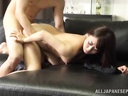 Cute Japanese gets nailed and creamed on black sofa