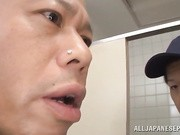 Lovely and mature Asian teacher Misa Yuki is in the bathroom when this bald dude comes in while she is using the toilet