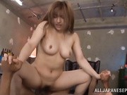 Shiori Kamisaki is a lovely Asian milf getting her fantasy come true, an interracial threesome!