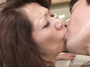 Naughty Japanese AV model is a mature babe getting into 69 with this younger guy
