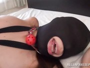 Naughty Japanese AV Model dressed in bondage lingerie and a mask is into a hardcore threesome mmf!