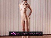 Enjoy watching hot brunette in nude dancing while rubbing cunt