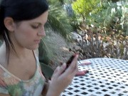 Slut made out with her lesbian girlfriend outdoors on the table