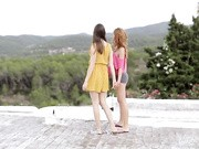 Erotic girl on girl sex outdoors with tender kissing