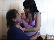 Sleazy youngster brunette fucking dirty older