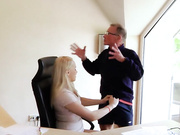 Old boss with very big dong screws his hot blonde secretary on the bureau