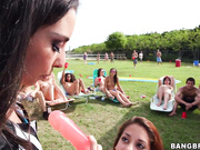 Pornstar orgy outside at field day with big tits and big asses