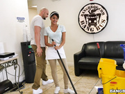The new cleaning lady swallows a load!
