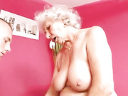 Classy granny Betty give this young thick cock of a stud best blowjob of his life then fucks him hard