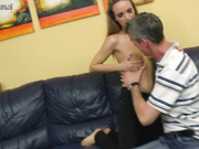 Hot teen fucking and sucking a dirty old man