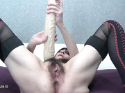 Hairy mature slut and her huge toy