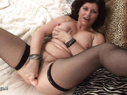 Horny housewife getting wet on a dildo