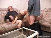 horny slutty gf fucking and sucking her bf and old man