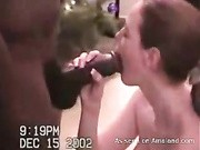 Busty redhead endures a huge black cock during rough amateur show