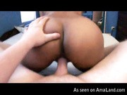 Curvy ass ebony rides cock in reverse cowgirls and loves the feeling